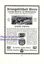 Union Zündhölzer Augsburg XL Reklame 1922 Schuhwichse Schuhcreme Steichhölzer +