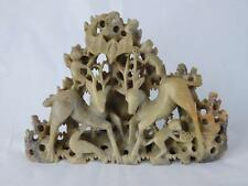 "EARLY 20TH CENTURY CHINESE SOAPSTONE SCULPTURE CARVING ""DEER - BATTS & MONKEYS"""