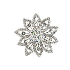 Lux Accessories Silvertone Crystal Pave Rhinestone Christmas Snowflake Brooch