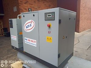 11KW ROTARY SCREW AIR COMPRESSOR WITH AIR RECEIVER, FRIDGE DRYER & FILTERS PACK