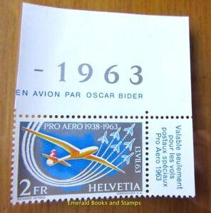 EBS Switzerland Helvetia 1963 Pro-Aero: Oskar Bider 780 MNH** SHEET CORNER (336)