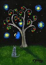 Grey Gray Tabby Tiger CAT Outsider folk Art PRINT Todd Young painting APPLE TREE