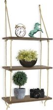 Greenco Decorative Rustic Jute Rope Wall Hanging Floating Shelves, Wood, 3 Tier