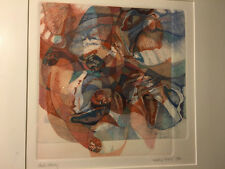 "ORIGINAL COLORED ETCHING FRAMED ART SEATTLE ARTIST WENDY THON ""SHELL STUDY"" 1982"