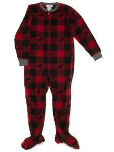 Komar Kids Boys Moose Red Plaid Blanket Sleeper Footed Pajamas