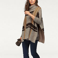 DICK WARM VINTAGE hochwertig PONCHO CAPE Pullover BRAUN camel Gr.48 50 52 54