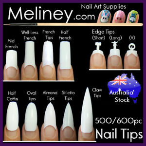 500/600Pc French Tips Nails Oval Square Long Short False Fake Artificial Finger