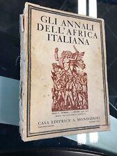 GLI ANNALI DELL' AFRICA ITALIANA Anno I nr. I 1938 XVI FASCISMO COLONIE