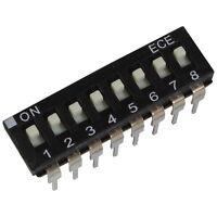 2 ECE EAH-108-EZ DIP-Schalter 8-polig IC 24V DC 25mA DIL Switch RM 2,54 855904