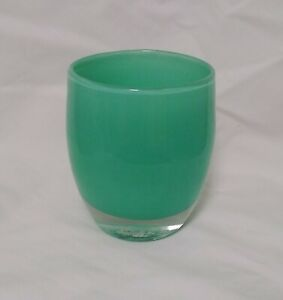 Glassybaby BELIEVE Beautiful Aqua Green Votive Candle Holder Hand Blown Glass
