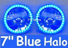 "Blue LED Halo 7"" Round Headlights suit Toyota Landcruiser 75 78 79 HZJ75 series"
