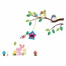 Jungle Owl Tree Bird Flower Wall Stickers Kids Children Room Nursery Decal Mural
