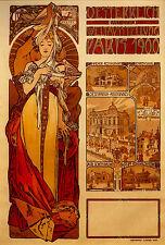 Alphonse Mucha - Austria Painting- Art Nouveau - Fine Art Real Canvas Print New