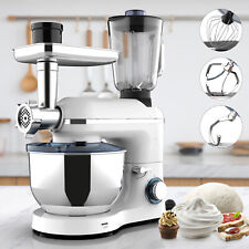 3in1 6 Speed 7QT Meat Mixer Tilt-Head Electric Kitchen Food Mix Machine White