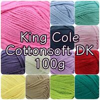 King Cole Cottonsoft DK Double Knit Cotton Knitting Crochet Yarn 100g Ball