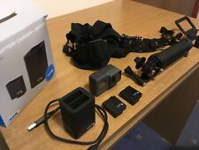 GoPro Hero 5 Black with 2 batteries, fast double charger, chest harness, stick