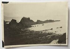 VINTAGE PHOTOGRAPH Hartland Quay 8.3cm x 6cm Devon 1938 Rocks SEA Beach 1107