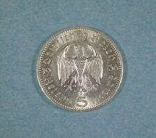 1936-a NAZI GERMANY 5 MARK COIN -  EAGLE & HINDENBURG - SILVER
