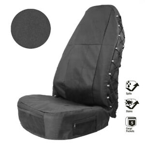 1Pc Car Seat Cover High Back Bucket Multi-Pockets Oxford Cloth Waterproof Dust