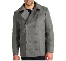 """Alpha Industries⚡️Men's """"Ensign"""" gray wool double breasted peacoat Small 1001849"""