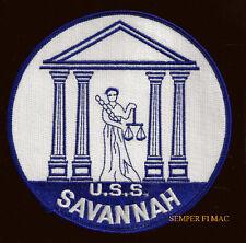 USS SAVANNAH CA42 PATCH US NAVY VETERAN CRUISER PIN UP JUSTICE LADY LIBERTY WW 2