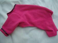 "READ LISTING 12"" back polar fleece pet pyjama onepiece female deep pink + black"
