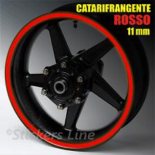 Nastro adesivi strisce ruote catarifrangenti ROSSO riflettente 11mm cerchi moto