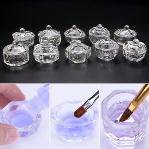 Crystal Glass Cup Nail Acrylic Powder Liquid Container Bowl Dish Nail Art Tool