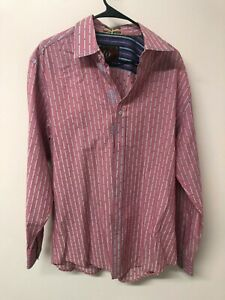 EQ Equilibrio Mens Pink Striped Shirt Embroidered Contrast Cuffs Size XL