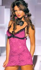 Pink Stretch Lace Chemise with Black Trim Lingerie Negligee One size fits 8-12