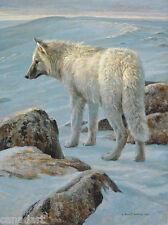 Robert BATEMAN Arctic Evening White Wolf Giclee Canvas LTD art 180 s/n