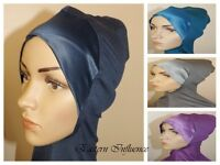 NEW SATIN HEAD NECK NINJA UNDER HAT HIJAB HAIR COVER BONNET BONE SLIP ON CAP