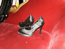 Black Satin Diamante Encrusted Party Heels Size 5