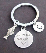 Best friend,You Are My Best Catch Fishing Key Chain W/Initial,Lovers,Sister Gift