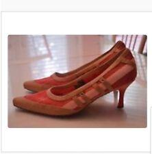 DIESEL Pink  Beige Heels Pumps SZ 7.5 8 US 38 EUR Leather Mesh