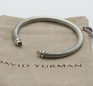 David Yurman 5mm Sterling Silver Cable Bracelet w/ Diamonds Smoky Topaz