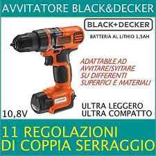 Black & Decker Trapano avvitatore 1 batteria 10.8V litio 1,3Ah compatto EGBL108