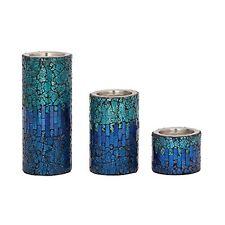 Benzara Sassy Set of Three Metal Mosaic Candle holders 42138 New