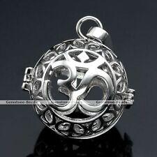 1x Silver Chime OM Symbol Cage Mexican Bola Harmony Ball Locket Pregnant Pendant