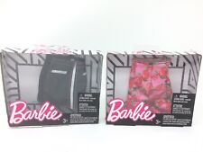 New Barbie Fashions Lot Black Leather Floral Rose Skirt Doll Clothes Clothing