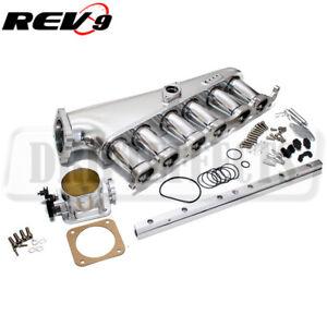 Rev9 For 2JZ-GTE CNC Aluminum Intake Manifold 90mm Throttle Body Fuel Rail Kit