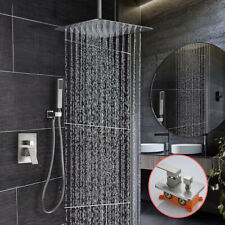 "Brushed Nickel Shower Faucet Set Valve Switch and 16"" Rain Shower Head System"
