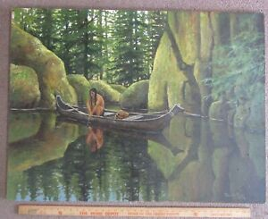 Original oil Painting Dennis Wentworth Porter '79 Native American Indian Fishing