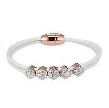 Finish Cluster Set Round Link Sale White Leather Straps Bracelet 14k Rose Gold