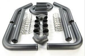 "2.5"" 63mm DIY Intercooler Piping Kit Mandrel Aluminum Bends Couplers T Clamps"