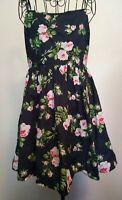 JACK WILLS Summer Dress Size 10. Floral print, spaghetti straps, full skirt,