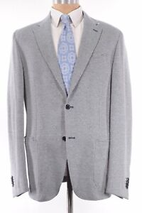 Luciano Barbera NWT Sport Coat Sz 46R Blue White Houndstooth Cotton/Linen $1,195