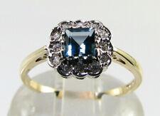 DAINTY 9K 9CT GOLD LONDON BLUE TOPAZ DIAMOND HALO ART DECO INS RING FREE RESIZE