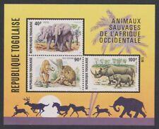 Togo Elephants Lions Rhinoceros Wild Animals MS 1974 ** MNH SG#MS1041 SC#C237a