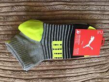 Calcetín PUMA Niños Cuarto de algodón suave (2 Pares) Uk Size 12-1.5 - Amarillo/Negro